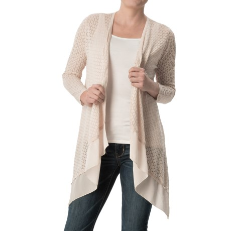 August Silk Pointelle Flyaway Cardigan Sweater 3/4 Sleeve (For Women)