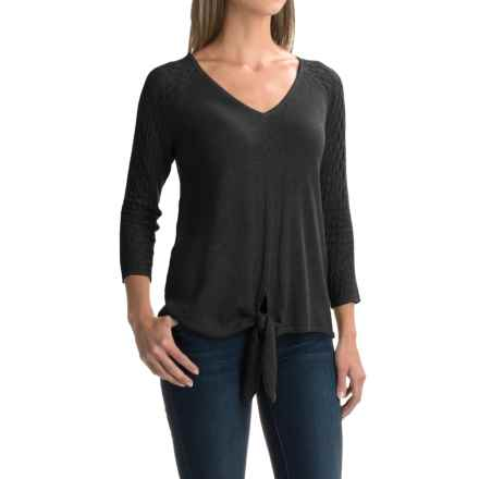 August Silk Pointelle Tie-Front Sweater (For Women) in Black - Closeouts