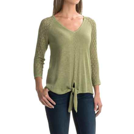 August Silk Pointelle Tie-Front Sweater (For Women) in Sage Moss - Closeouts