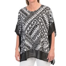 August Silk Printed Butterfly-Sleeve Shirt - Rayon, Short Sleeve (For Women) in Aztec - Closeouts