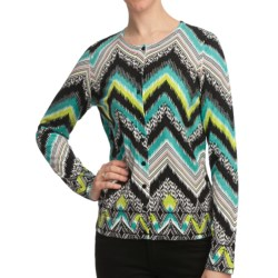 August Silk Printed Cardigan Sweater (For Women) in Agua/Lime Kinetic Geo