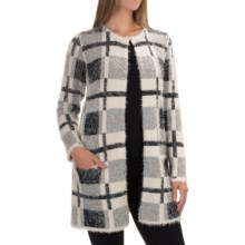 August Silk Printed Faux-Fur Cardigan Coat (For Women) in Plaid - Overstock