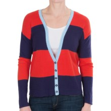August Silk Rib-Knit Stripe Cardigan Sweater - V-Neck (For Women) in Navy/Red - Closeouts