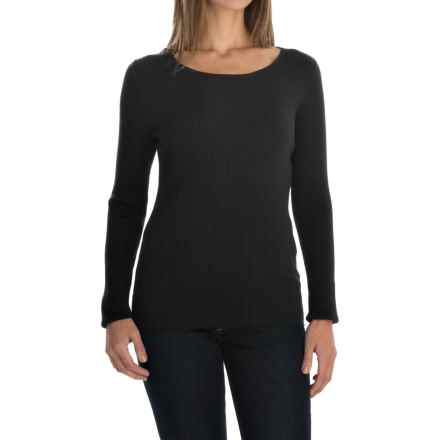 August Silk Rib-Knit Sweater - Silk Blend (For Women) in Black - Overstock