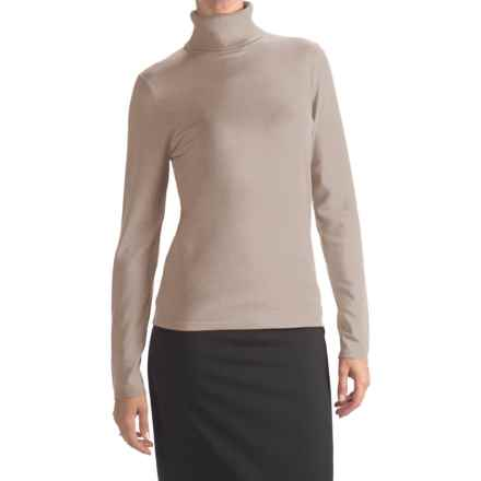 August Silk Rib-Trim Turtleneck Sweater (For Women) in Ash Blonde - Closeouts