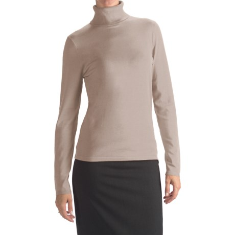 August Silk Rib-Trim Turtleneck Sweater (For Women) in Ash Blonde