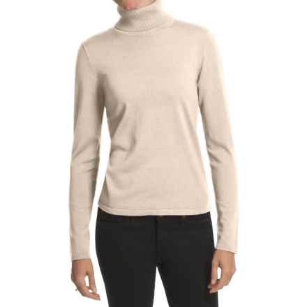 August Silk Rib-Trim Turtleneck Sweater (For Women) in Bavarian Cream - Closeouts
