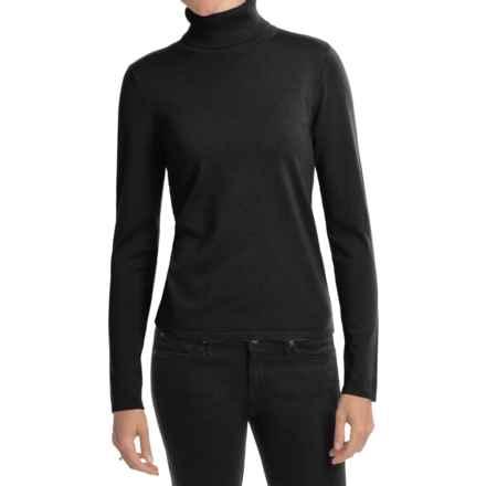 August Silk Rib-Trim Turtleneck Sweater (For Women) in Black - Closeouts