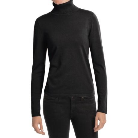 August Silk Rib-Trim Turtleneck Sweater (For Women) in Black