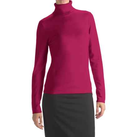 August Silk Rib-Trim Turtleneck Sweater (For Women) in Brandied Pink - Closeouts