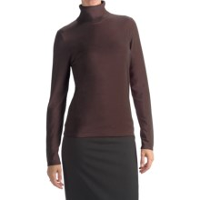 August Silk Rib-Trim Turtleneck Sweater (For Women) in Dark Chocolate - Closeouts
