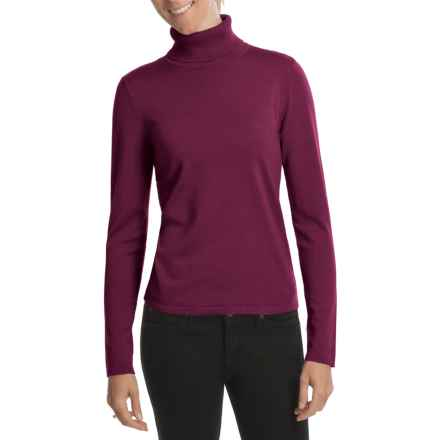 August Silk Rib-Trim Turtleneck Sweater (For Women) in Deep Mulberry - Closeouts