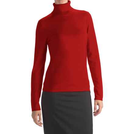 August Silk Rib-Trim Turtleneck Sweater (For Women) in Scarlet - Closeouts