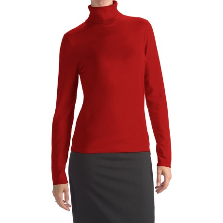 August Silk Rib-Trim Turtleneck Sweater (For Women) in Scarlet