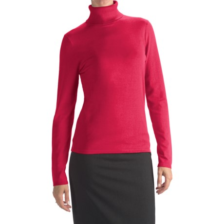 August Silk Rib-Trim Turtleneck Sweater (For Women)