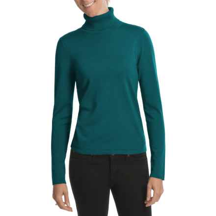 August Silk Rib-Trim Turtleneck Sweater (For Women) in Winter Teal - Closeouts