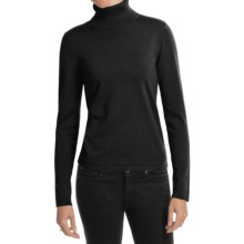 August Silk Rib-Trim Turtleneck Sweater - Silk-Rich (For Women) in Black - Closeouts