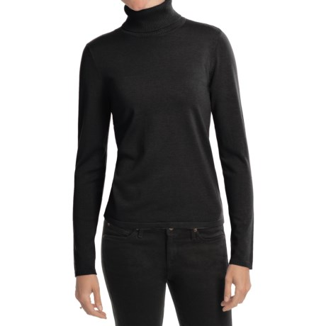 August Silk Rib-Trim Turtleneck Sweater - Silk-Rich (For Women) in Black