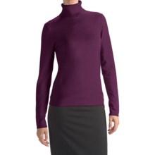 August Silk Rib-Trim Turtleneck Sweater - Silk-Rich (For Women) in Glorious Grape - Closeouts