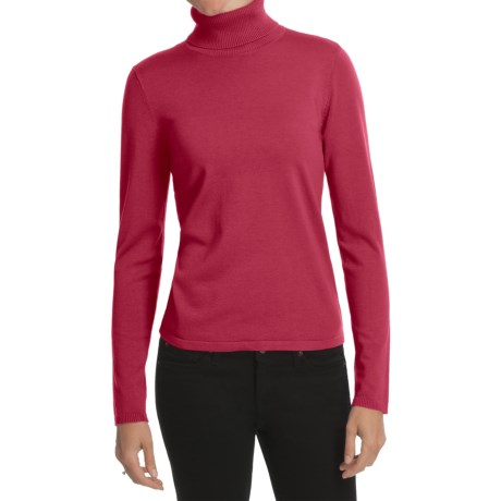 August Silk Rib-Trim Turtleneck Sweater - Silk-Rich (For Women) in Red Dagger