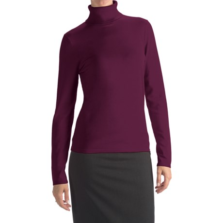 August Silk Rib-Trim Turtleneck Sweater - Silk-Rich (For Women) in Retro Wine