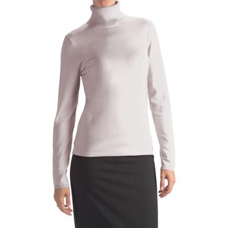 August Silk Rib-Trim Turtleneck Sweater - Silk-Rich (For Women) in Uv White
