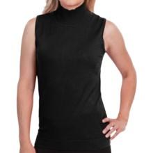 August Silk Rib-Trim Turtleneck Sweater - Silk Rich, Sleeveless (For Women) in Black - Closeouts