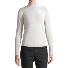 August Silk Rib-Trimmed Mock Turtleneck - Long Sleeve (For Women) in 39C Uv White - Closeouts