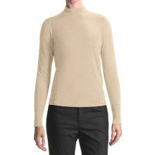 August Silk Rib-Trimmed Mock Turtleneck - Long Sleeve (For Women) in Bavarian Cream - Closeouts
