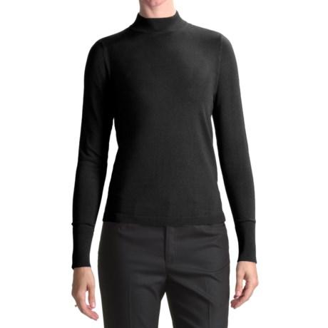 August Silk Rib-Trimmed Mock Turtleneck - Long Sleeve (For Women) in Black