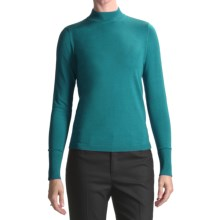 August Silk Rib-Trimmed Mock Turtleneck - Long Sleeve (For Women) in Evergreen Turquoise - Closeouts