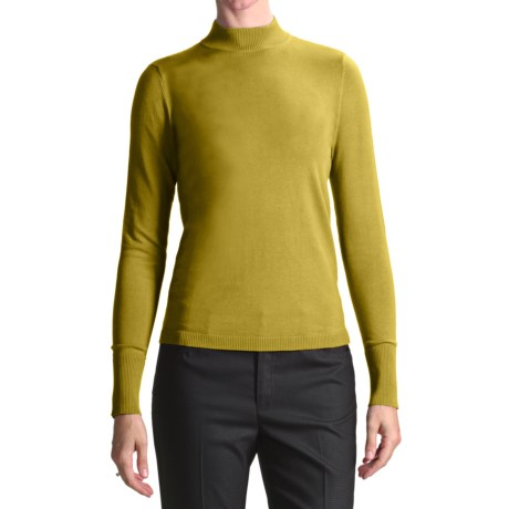 August Silk Rib-Trimmed Mock Turtleneck - Long Sleeve (For Women) in Golden Green