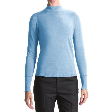 August Silk Rib-Trimmed Mock Turtleneck - Long Sleeve (For Women) in Powder Blue