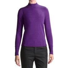 August Silk Rib-Trimmed Mock Turtleneck - Long Sleeve (For Women) in Purple Brocade - Closeouts