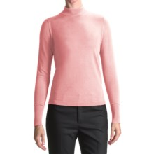 August Silk Rib-Trimmed Mock Turtleneck - Long Sleeve (For Women) in Rose Blush - Closeouts