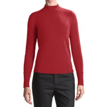 August Silk Rib-Trimmed Mock Turtleneck - Long Sleeve (For Women) in Steamy Red - Closeouts