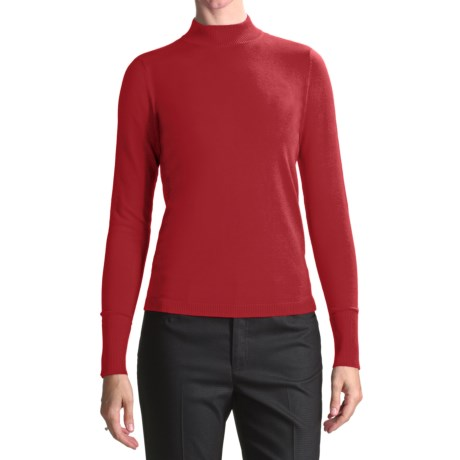 August Silk Rib-Trimmed Mock Turtleneck - Long Sleeve (For Women) in Steamy Red