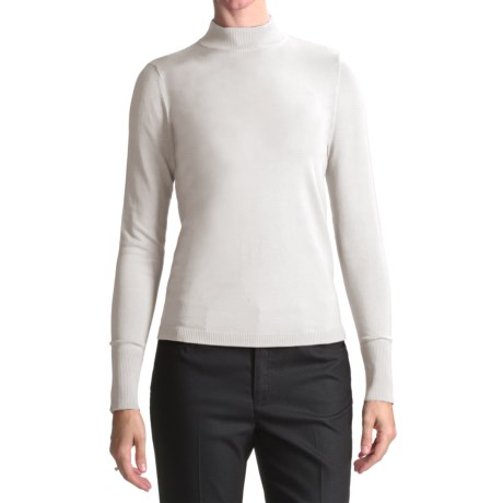 August Silk Rib-Trimmed Mock Turtleneck - Long Sleeve (For Women) in Uv White