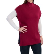 August Silk Ribbed Tunic Sweater - Short Sleeve (For Women) in Acai Berry - Closeouts
