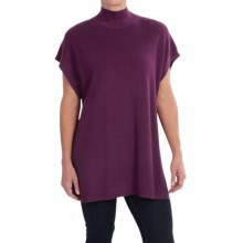August Silk Ribbed Tunic Sweater - Short Sleeve (For Women) in Glorious Grape - Closeouts