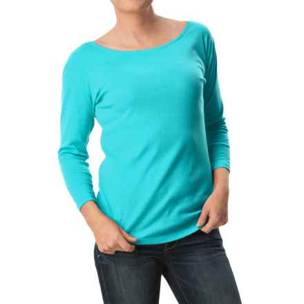 August Silk Round-Neck T-Shirt - 3/4 Sleeve (For Women) in Scuba Turquoise - Closeouts