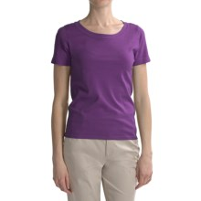 August Silk Round Neck T-Shirt - Short Sleeve (For Women) in Berrylicious - Closeouts