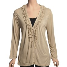 August Silk Ruffle Neck Cardigan Sweater - Tissue Rayon (For Women) in Down Beige - Closeouts