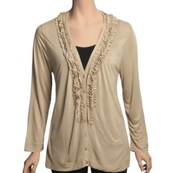 August Silk Ruffle Neck Cardigan Sweater - Tissue Rayon (For Women) in Down Beige