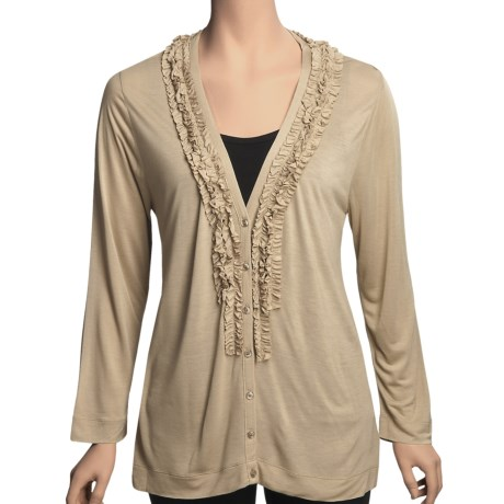 August Silk Ruffle Neck Cardigan Sweater - Tissue Rayon (For Women) in Down Beige