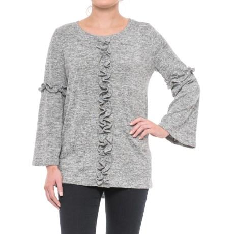 August Silk Ruffled Bell-Sleeve Shirt - Long Sleeve (For Women) in Light Heather Grey