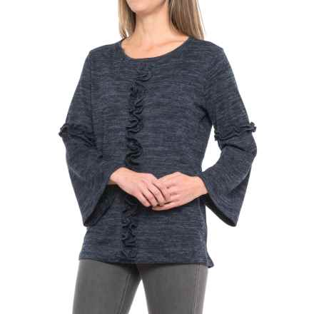 August Silk Ruffled Bell-Sleeve Shirt - Long Sleeve (For Women) in Navy/Black Heather - Closeouts