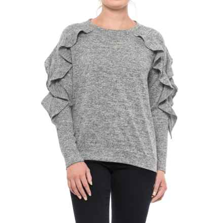 August Silk Ruffled Shirt - Long Sleeve (For Women) in Light Heather Grey - Closeouts