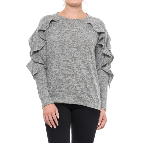 August Silk Ruffled Shirt - Long Sleeve (For Women) in Light Heather Grey