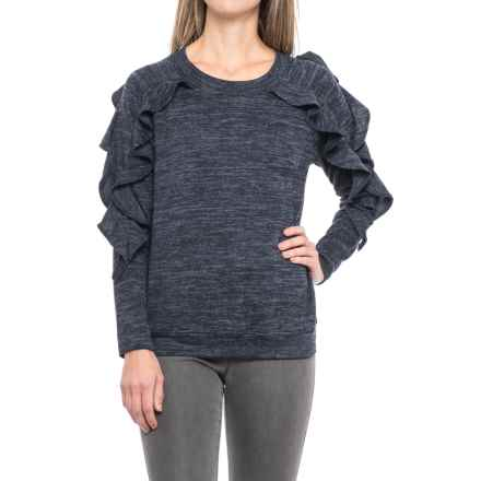 August Silk Ruffled Shirt - Long Sleeve (For Women) in Navy/Black Heather - Closeouts